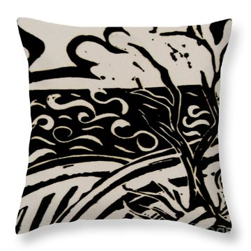 Land Sea Sky In Black And White Throw Pillow by Caroline Street
