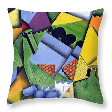 Landscape And Houses At Ceret Throw Pillow by Juan Gris