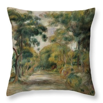 Landscape At Noon Throw Pillow by  Pierre Auguste Renoir