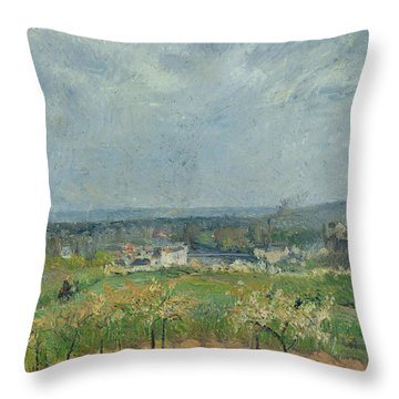 Landscape In Pontoise Throw Pillow by Camille Pissarro