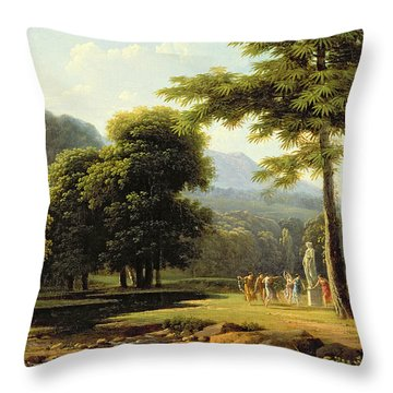 Landscape Throw Pillow by Jean Victor Bertin
