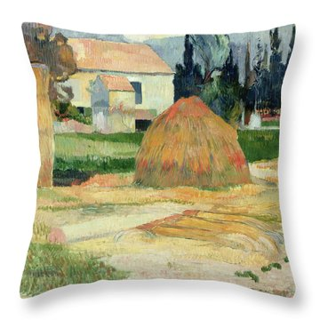 Landscape Near Arles Throw Pillow by Paul Gauguin