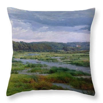Landscape Near Ribe Denmark Throw Pillow