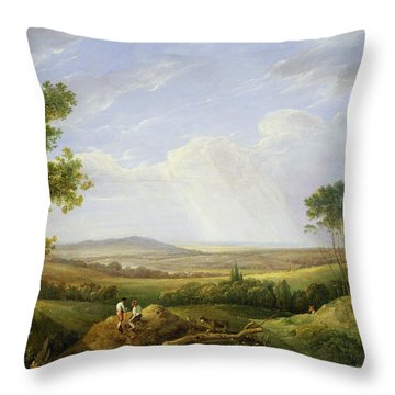 Landscape With Figures  Throw Pillow by Captain Thomas Hastings
