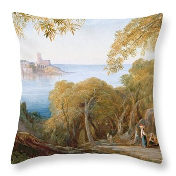 Landscape With View Of Lerici Throw Pillow by Edward Lear