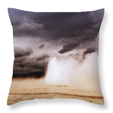Landscapes Of Yellowstone - Great Fountain Geyser Throw Pillow by Ellen Heaverlo