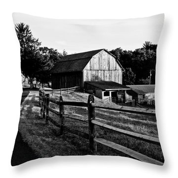 Langus Farms Black And White Throw Pillow by Jim Finch
