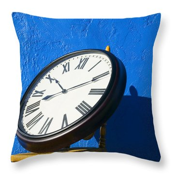 Large Clock On Yellow Chair Throw Pillow