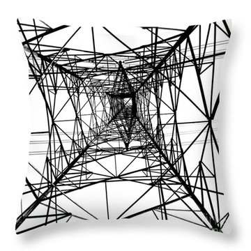Large Electricity Powermast Throw Pillow by Yali Shi