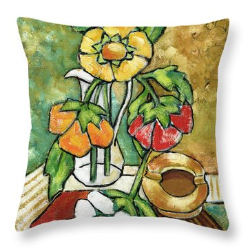 Large Flowers Throw Pillow by Rachel Hershkovitz