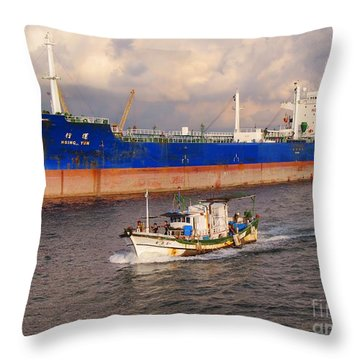 Large Oiltanker And Chinese Fishing Boat Throw Pillow