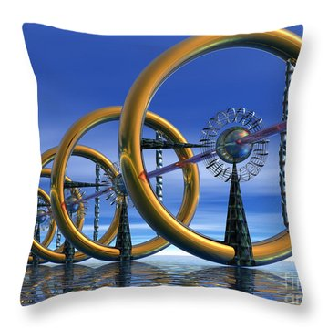 Laser Throw Pillow by Nicholas Burningham