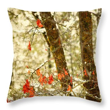 Last Leaves Clinging Throw Pillow by Bonnie Bruno