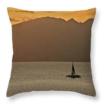 Late Afternoon Cruise In The Paniolo Channel Throw Pillow