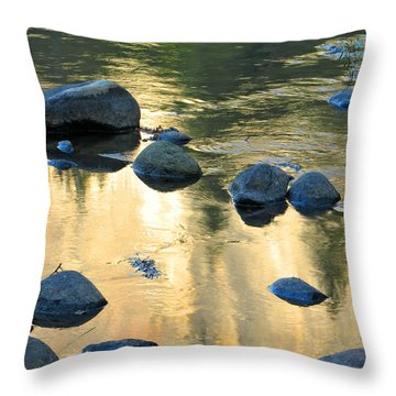 Late Afternoon Reflections In Merced River In Yosemite Valley Throw Pillow by Greg Matchick