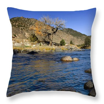 Late Autumn At The Arkansas Throw Pillow by Ellen Heaverlo