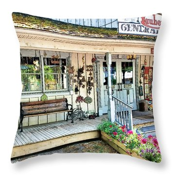 Lauber's General Store Throw Pillow by Tom Schmidt