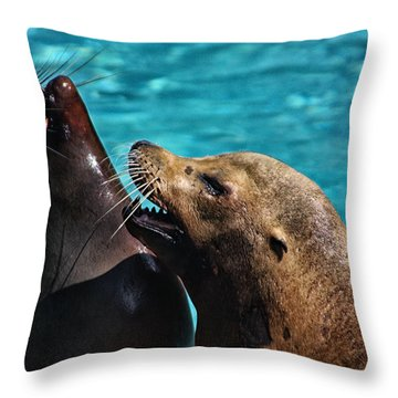 Laughing Seals Throw Pillow by Karol Livote