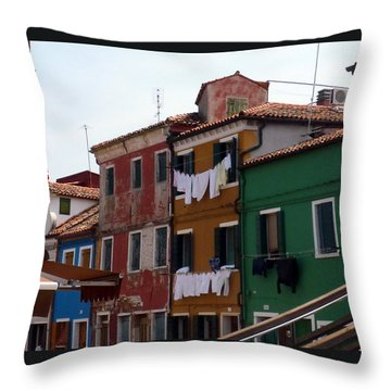 Laundry Day In Burano Throw Pillow by Carla Parris