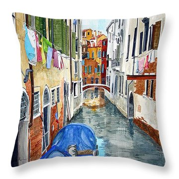 Throw Pillow featuring the painting Laundry Day In Venice by Tom Riggs