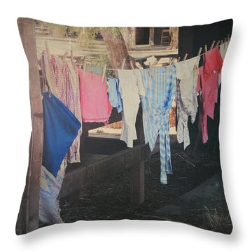 Laundry Day Throw Pillow by Laurie Search