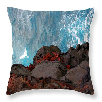 Lava Rocks And Ocean Water Throw Pillow by Jennifer Bright