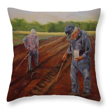 Throw Pillow featuring the painting Laying Off Rows by Carol Berning