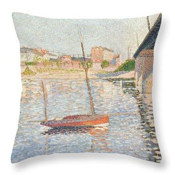 Le Clipper - Asnieres Throw Pillow by Paul Signac
