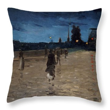 Le Pont De Pierre Throw Pillow by Charles Angrand