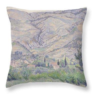 Le Ragas Near Toulon Throw Pillow by Camille Pissarro
