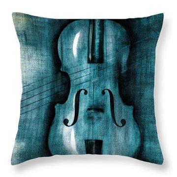 Le Violon Bleu Throw Pillow