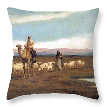 Leading The Flock To Pasture Throw Pillow