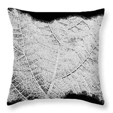 Leaf Design- Black And White Throw Pillow by Will Borden