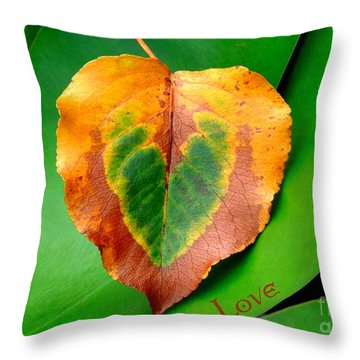 Leaf Leaf Heart Love Throw Pillow