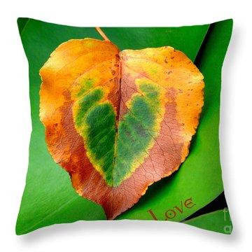 Leaf Leaf Heart Love Throw Pillow by Renee Trenholm