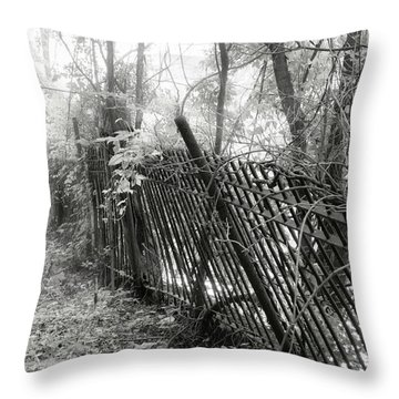 Throw Pillow featuring the photograph Leaning Fence by Mary Almond