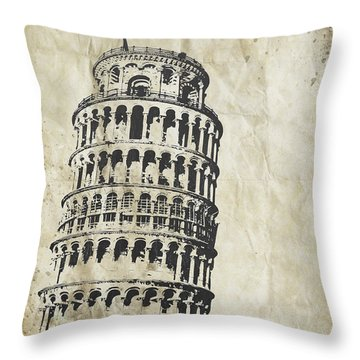 Leaning Tower Of Pisa On Old Paper Throw Pillow by Setsiri Silapasuwanchai