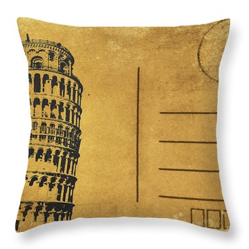 Leaning Tower Of Pisa Postcard Throw Pillow