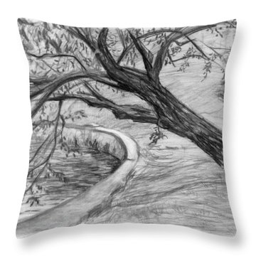 Leaning Tree Throw Pillow by Adam Long