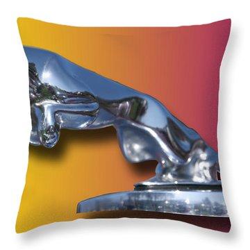 Leaping Jaguar Mascot Throw Pillow by Jack Pumphrey
