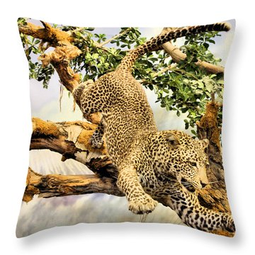 Leaping Leopard Throw Pillow by Kristin Elmquist
