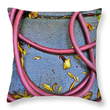 Throw Pillow featuring the photograph Leaves And Hose by Bill Owen
