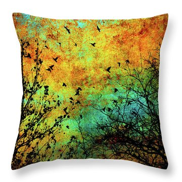 Leaves To Feathers Throw Pillow