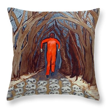 Throw Pillow featuring the painting Leaving Eden by Lisa Brandel