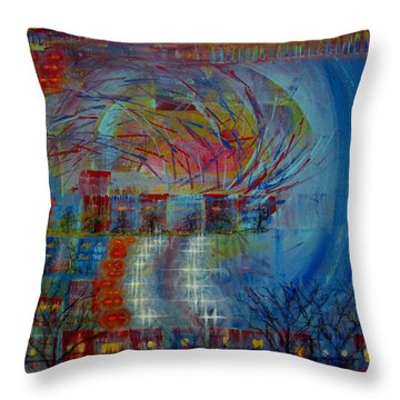 Leaving Home Commuting To Work And Returning Home Throw Pillow