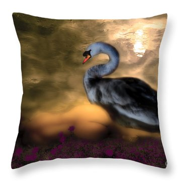 Throw Pillow featuring the digital art Leda And The Swan by Rosa Cobos