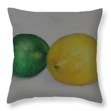 Lemon And Lime Throw Pillow by Loueen Morrison