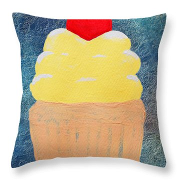 Lemon Cupcake With A Cherry On Top Throw Pillow by Andee Design