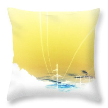 Lemon Yellow Sky Throw Pillow