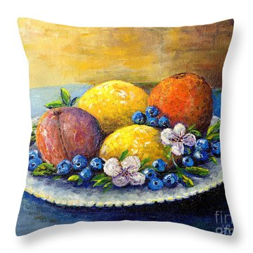 Throw Pillow featuring the painting Lemons And Blueberries by Lou Ann Bagnall